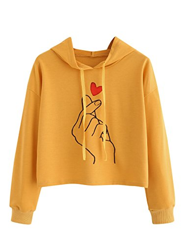 Verdusa Women's Sporty Graphic Color Block Pullover Hoodie Crop Sweatshirt Yellow M