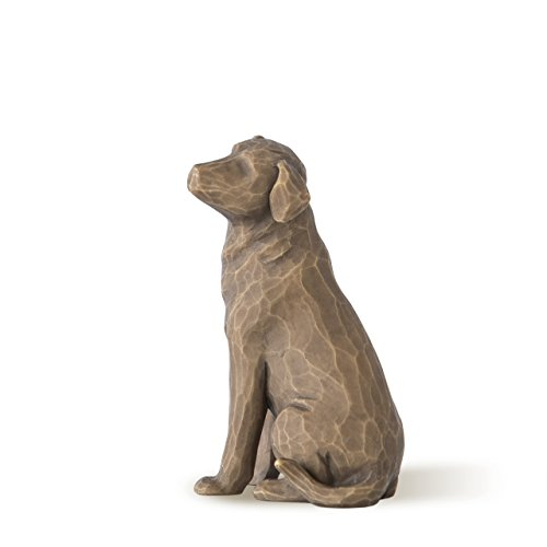Figurine Dog Collectible (Willow Tree Love my Dog (dark), sculpted hand-painted figure)