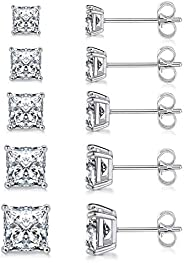 MDFUN 18K White Gold Plated Princess Cut Clear Cubic Zirconia Stud Earring Pack of 5 Pairs…