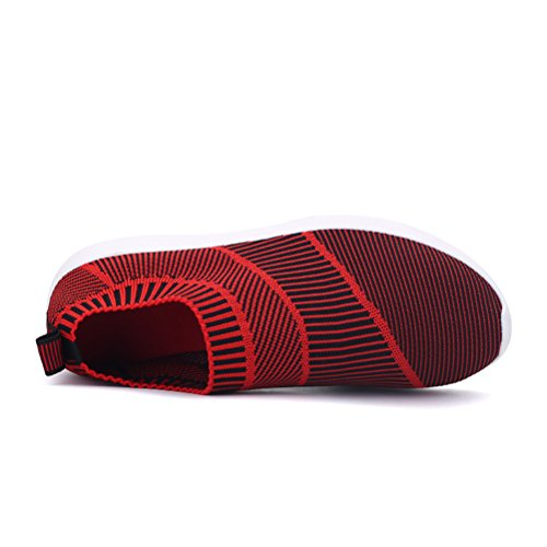 Sport Fashion Comfort Elastic Slip ONS Walking amp;Mates Mens Knitted Red for Exerices Vamp T Sneakers xw8PI