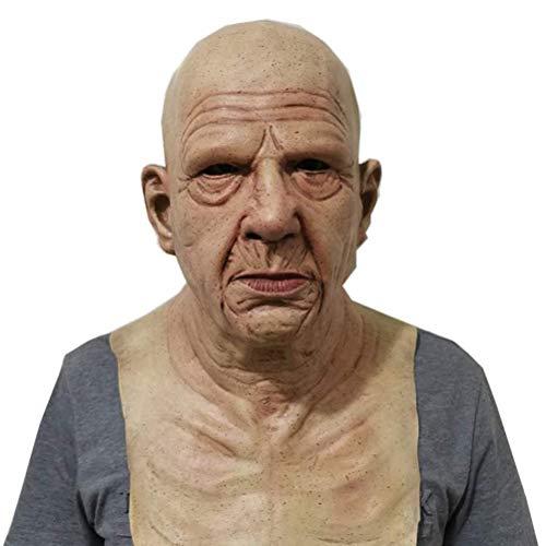 MeiLiu Mascara de Halloween, mascara de Anciano Aterrador, mascara de Cosplay de latex para Adultos, Accesorios de decoracion de Fiesta de Halloween, comoda y Transpirable