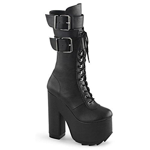 Demonia Kramper-202 Kvinnor 6 1/4 Blocket Häl, 3 Räfflade Plattform Spets-up Front Knee Hög Boot Blk Veganläder