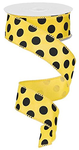 (Polka Dot Wired Edge Ribbon - 10 Yards (Yellow, Black, 1.5