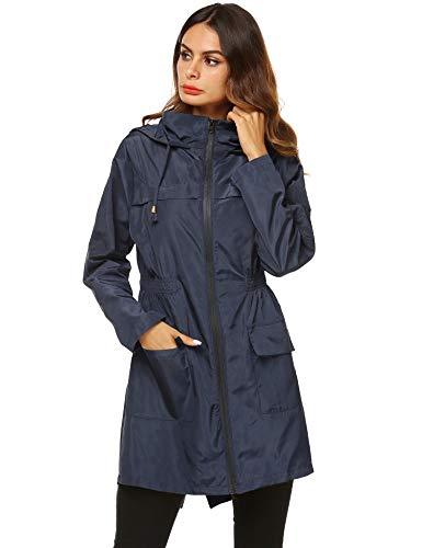 AKEWEI Women Lightweight Raincoat Waterproof Trench Coat Windbreaker Hiking Rain Jacket Breathable Summer Coat Navy Blue L
