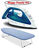Tabletop Ironing Board with Scorch Resistant Cover and Ultraglide Non-Stick and Scratch Resistant Durilium Ceramic Soleplate Steam Iron with Anti-Drip and Auto-off System, 1700W, Blue