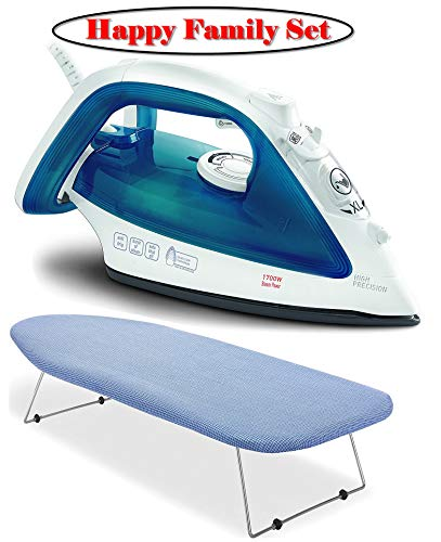 (Tabletop Ironing Board with Scorch Resistant Cover and Ultraglide Non-Stick and Scratch Resistant Durilium Ceramic Soleplate Steam Iron with Anti-Drip and Auto-off System, 1700W, Blue)
