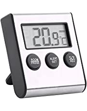 Digital Fridge Thermometer with Large LCD Display Refrigerator Temperature Meter with High Low Temperature Alarm and Stand