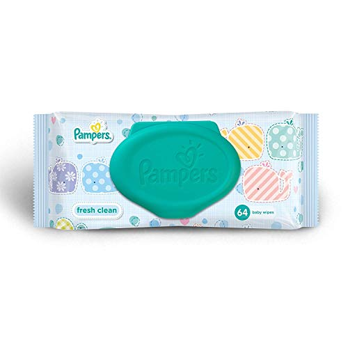 Pampers 64 Ct Baby Wipes Fresh Clean Scent, Easy to Pull, Light Weight, Easy Carry Handy ()