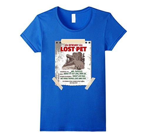 Womens Pet T-Rex Dinosaur Taped Notebook Paper Wanted Sign T-shirt Large Royal (Mastodon Halloween Shirt)