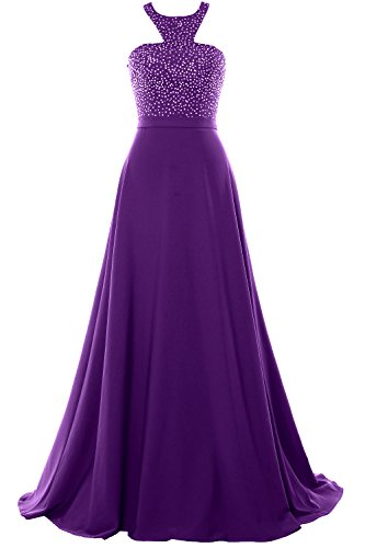 MACloth Women Halter O Neck Chiffon Long Prom Dress 2017 Formal Evening Gown Morado