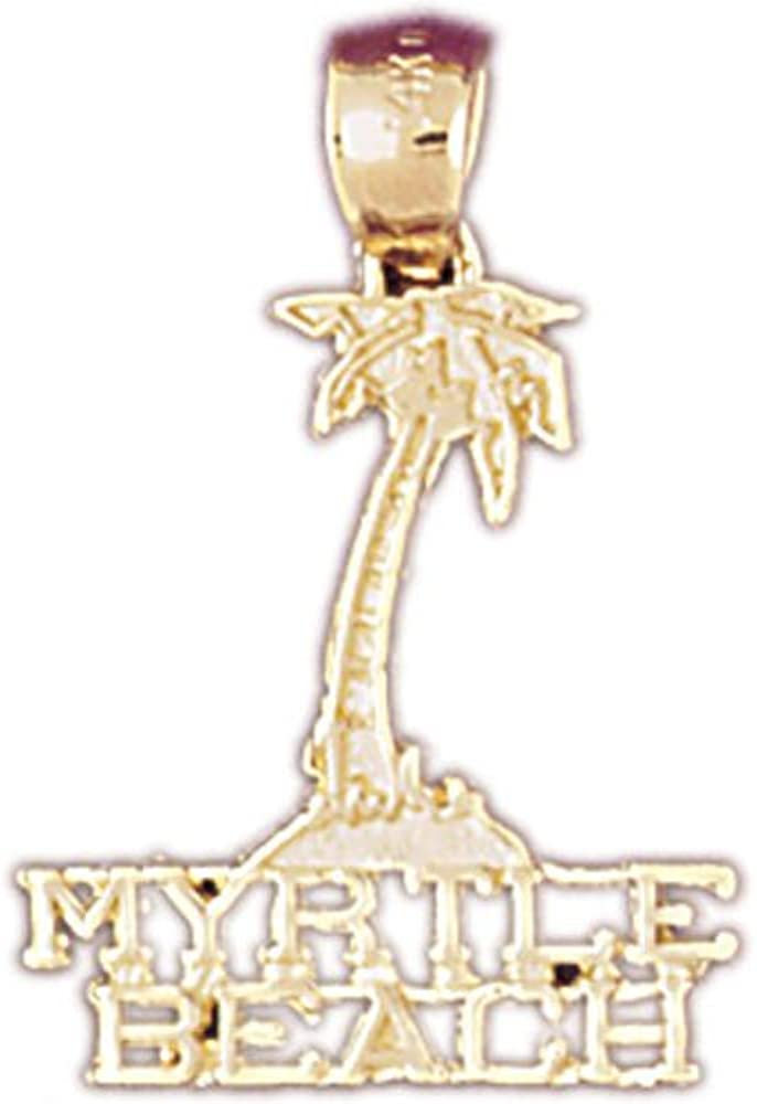 14K Yellow Gold Myrtle Beach Pendant on an Adjustable 14K Yellow Gold Chain Necklace