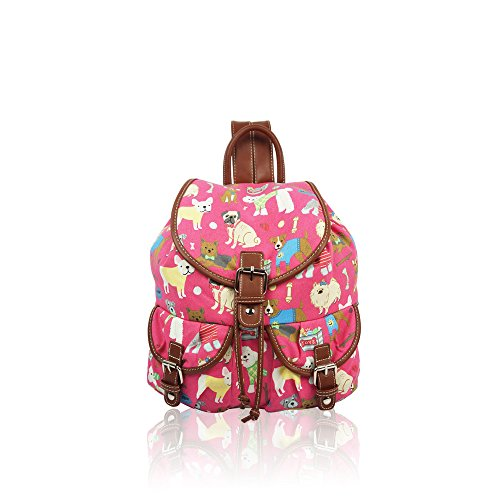 YDezire? Kid/Teenager Multi Cats Canvas Backpack Rucksack Shoulder Bag-Back To School Fuchsia/Mix Dogs