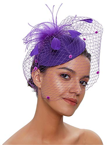 Zivyes Fascinator Hats for Women Pillbox Hat with Veil Headband and a Forked Clip Tea Party Headwear (1-Purple)]()