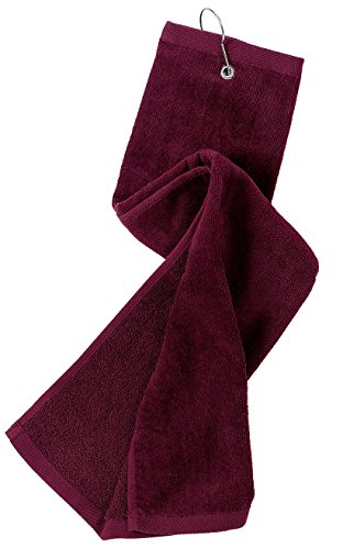 Port Authority Bath Grommeted Tri Fold Golf Towel OSFA Maroon