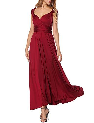 FeelinGirl Jupe Varit Bretelles Robe Femme Charmant XL Au Vineux Soire Rouge Epaule Chic Bande S Elgant Nu Dos rxUwrqY5S