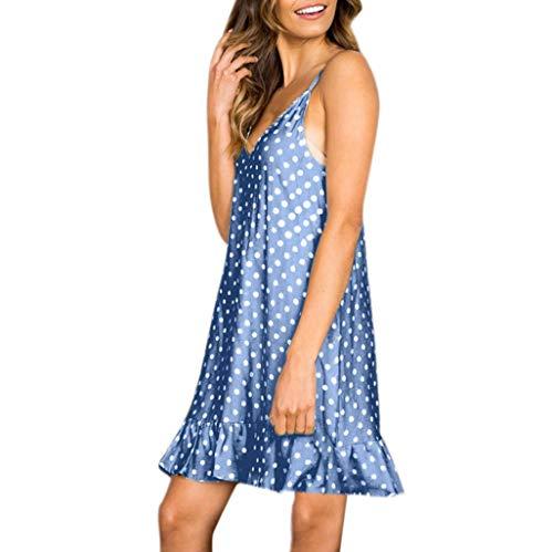 Women Sexy Sling Polka Dots Print V-Neck Sleeveless Ruffled Hem Loose Mini Dress