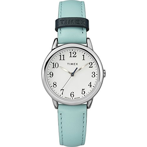 Timex Women's TW2R62900 Easy Reader 30mm Blue/Silver-Tone Leather Strap (Ladies Analog Easy Reader Watch)
