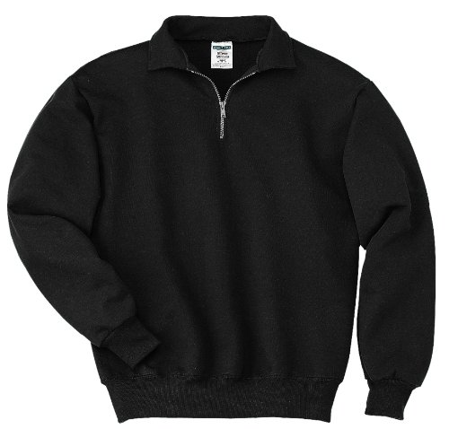 JERZEES Mens SUPER SWEATS 1/4-Zip Sweatshirt with Cadet Collar, 3XL, Blk