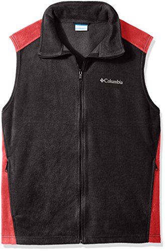 Columbia Men's Big Steens Mountain and Tall Vest, Black/Mountain Red, 3X/Tall (Outerwear Mountain Black)