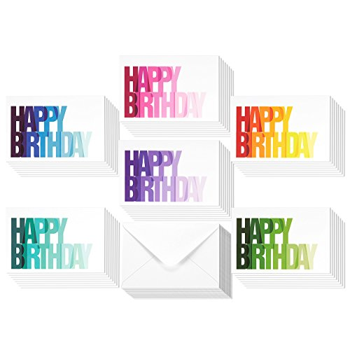 48 Pack Happy Birthday Greeting Cards, 6 Rainbow Ombre Happy Birthday Designs , Bulk Box Set Variety Assortment, Envelopes Included 4 x 6 Inches