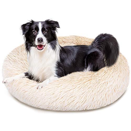 Eyein Calming Dog Bed, Washable Soft Donut Warm Pet Cat Cushion Round Fluffy Snuggle Nest Comfort Puppy Kitten sleeping…
