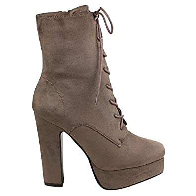 3fea4727246f Amazon.com  Women s Lace up Platform - High Block Heel Boots (10)  Shoes