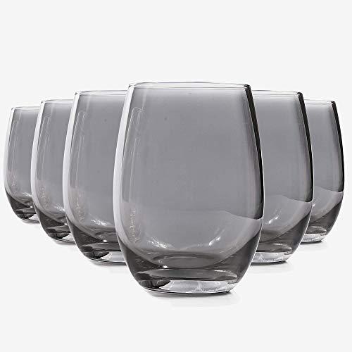 MIUSITE Glassware Water Wine Juice Hihgball Cool Drinking Glasses Set of 6-535ml(18.83oz) (Grey)