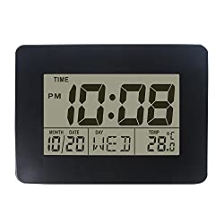 DYKIE Digital Tabletop Clock with Date Week and Temperature Display- Snooze and Large Display- (Blue Backlight)- Battery Operated LCD Home and Travel Alarm Clock, Desk Clock Black