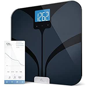 Bluetooth Smart Body Fat Scale by Weight Gurus Secure Connected Solution for your Data including BMI Body Fat Muscle Mass Water Weight and Bone Mass Large Backlit Display