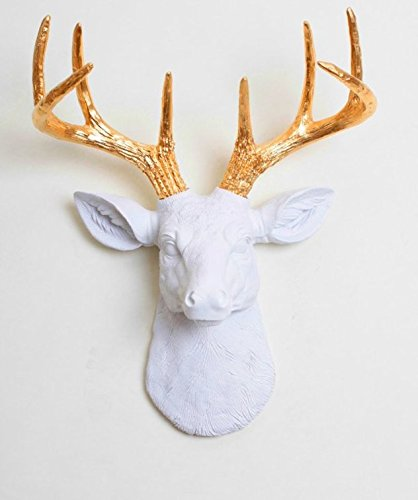 White Faux Taxidermy The Mini Alfred Resin Faux Deer Head with Antlers Animal Head Wall Hanging Sculpture, 14.75 by 11 by 4.75