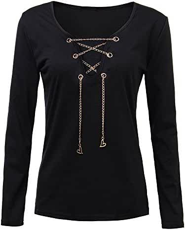Sexy Women Solid Metal Chain Hollow Deep V Neck Stretch T-Shirt