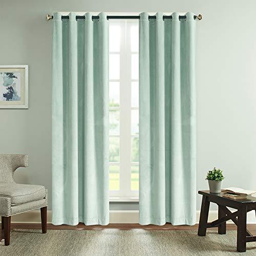 Roslynwood Mint Green Velvet Solid Grommet Room Darkening Window Curtain Panel Pair (2 Panels, 96 Inch Length)