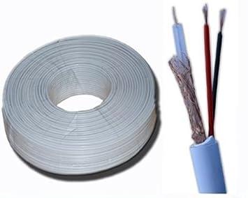 Cable coaxial apantallado 100 m para cámaras con doble alimentación cable