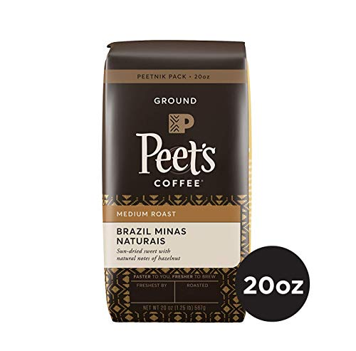 Peet's Coffee Brazil Minas Naturais, Medium Roast Ground Coffee, 20 Ounce Peetnik Pack, Direct Trade Coffee
