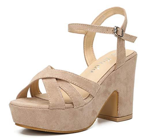 WSKEISP Womens Ankle Strap Platform Sandals Open Toe Chunky High Heels Party Dress Sandal tan Velveteen Size US8.5 EU40