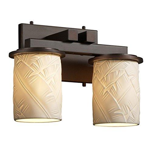 (Justice Design Group Limoges 2-Light Bath Bar - Dark Bronze Finish with Banana Leaf Translucent Porcelain Shade )