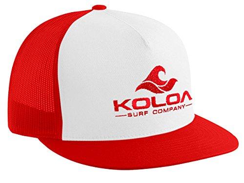 Koloa Surf(tm) Mesh Back Wave Logo Trucker Hat in Red/White Red ()