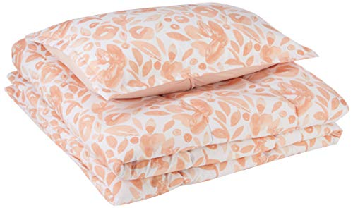 AmazonBasics Comforter Set - Soft, Easy-Wash Microfiber - Twin/Twin XL, Pink Watercolor ()