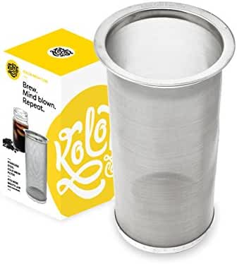 Kolob Brew Tube - Cold Brew Coffee Maker with Sealing Ring - Reusable Stainless Steel Filter for Brewing Professional Cold Brew Concentrate and Infused Tea at Home in a Mason Jar