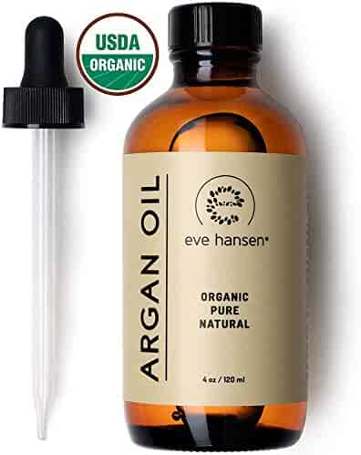 Eve Hansen USDA Certified Organic Argan Oil (4oz) | Pure Moroccan Argan Oil for Hair, Skin and Nails | Carrier Oil, Face Moisturizer, Body Oil, Dry Scalp Treatment and Hair Oil for Dry Hair and Damage