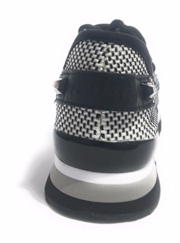 SCARPE DONNA SNEAKER RAPHIA BLACK & WHITE MOD DUSTY DS17AP01 (41)