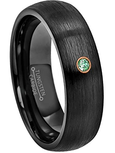 Jewelry Avalanche 0.07ct Emerald Tungsten Ring - May Birthstone Ring - 6MM Comfort Fit Brushed Black Ion Dome Tungsten Carbide Wedding Band -12