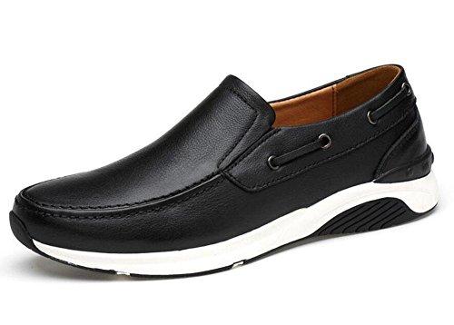 Männer Slip-On Oxford Boutique Skateboard Schuhe Lässige Schuhe Weiches Leder Leder Mit Bequemen Ebenen Schuhe , black , 38