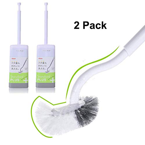 Marbrasse Slim Compact Bathroom Toilet Bowl Brush with Holder for Bathroom Stroage - Toilet Brush Sturdy, Deep Cleaning, Pack of 2 Set (2 Pack) (Best Toilet Bowl Brush And Holder)
