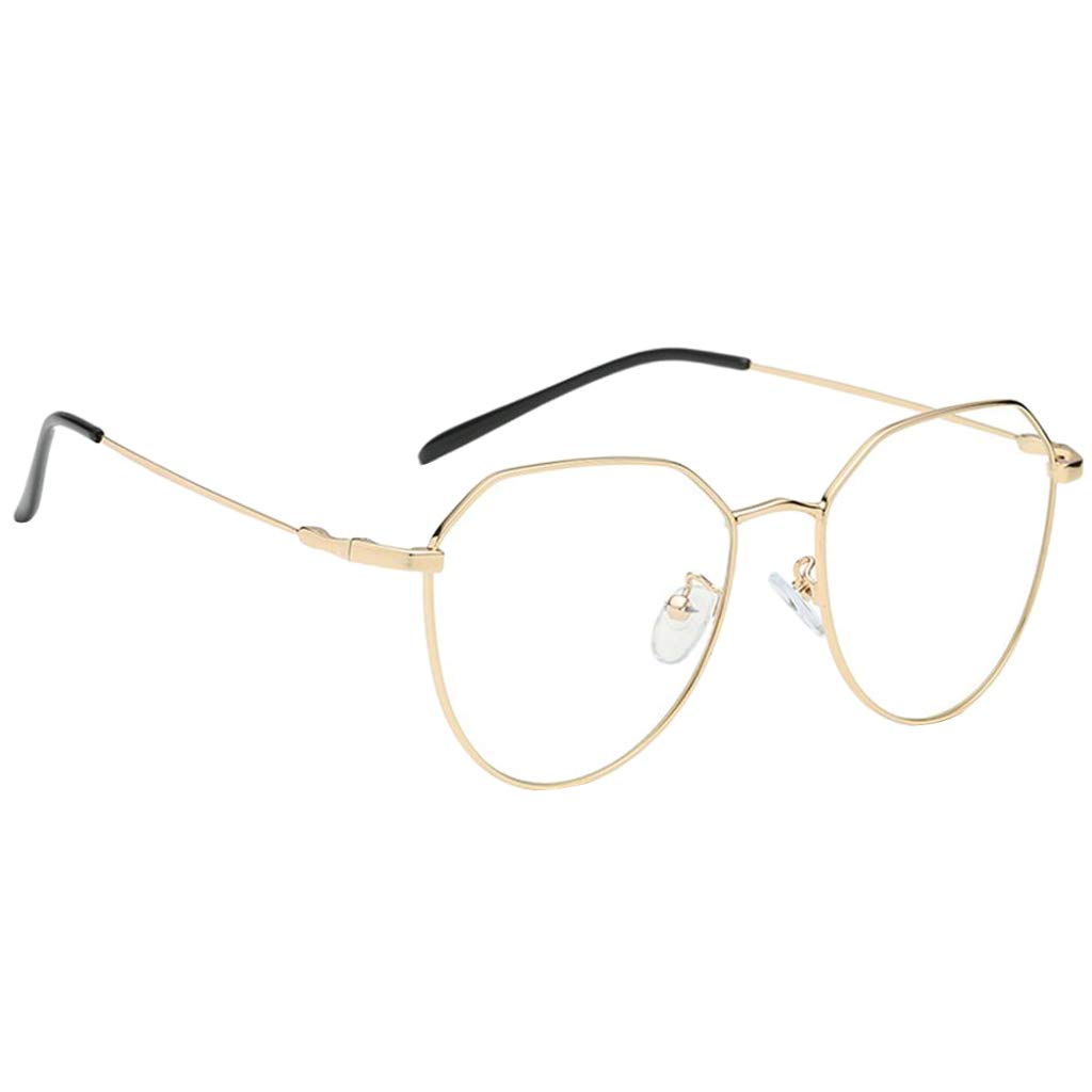 Baoblaze vintage Metallrahmen Fensterglas Brille Ohne Stä rke Durchsichtig Nerdbrille Sonnenbrille Retro Winddicht Sonne Brille Damen Herren - Schwarz + Gold