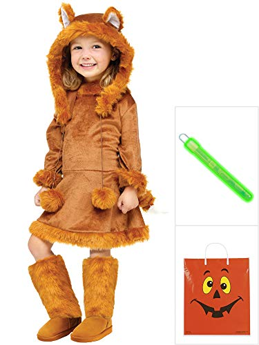 Sweet Fox Costume Kit Kids M With Halloween Treat Bag -