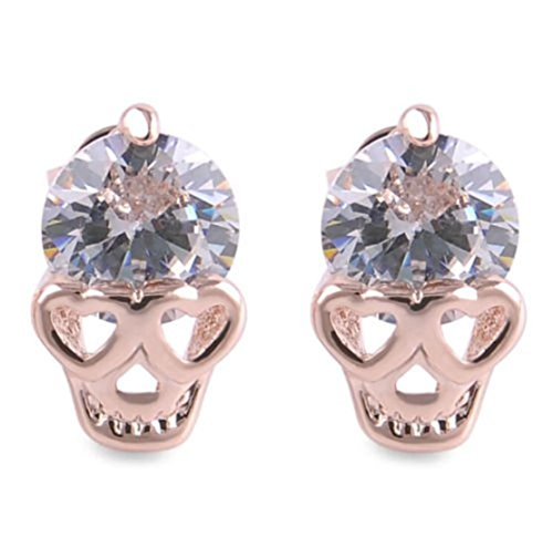 (Fusicase Cute New Crystal Champagne Retro Resins Skull Earrings Women Rosegold Diamond Punk Gothic Earing Skeleton Ear Stud Jewelry For Girls)