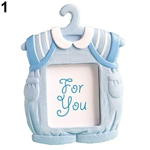 (Tcplyn Premium Quality Photo Frame, Cute Mini Dress Shape Photo Frame Baby Kids Birthday Synthetic Resin Photo Frame - Blue 7cm*9cm )