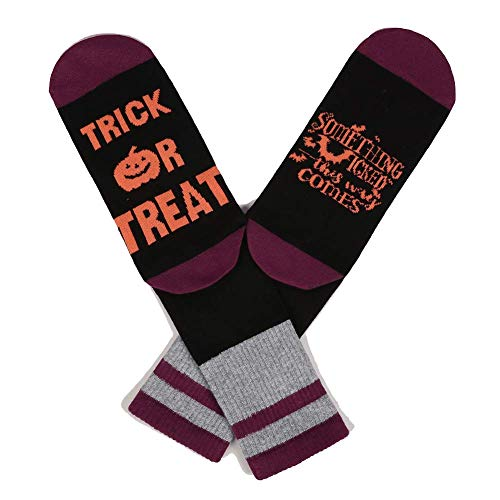 Socks Mens Womens Halloween Treat or Trick Pumpkin Bat Cute Letter Print Half Crew Cotton Socks Stockings for $<!--$4.98-->