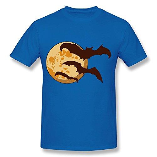 SHIYI Halloween Moon Bats Tshirt For Mens 3X RoyalBlue]()